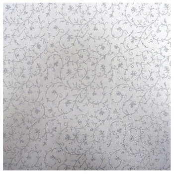 "Silver Dainty Vines Scrapbook Paper - 12"" x 12"""