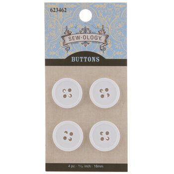 White Round Buttons - 18mm