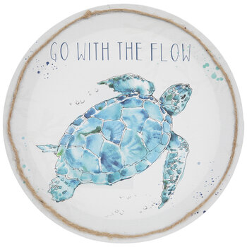 Go With The Flow Sea Turtle Round Canvas Wall Decor
