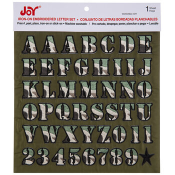 Green Camo Embroidered Letter Iron-On Applique Alphabet