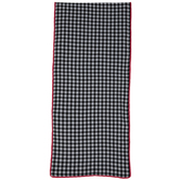 Black & White Buffalo Check Table Runner With Red Pom Trim