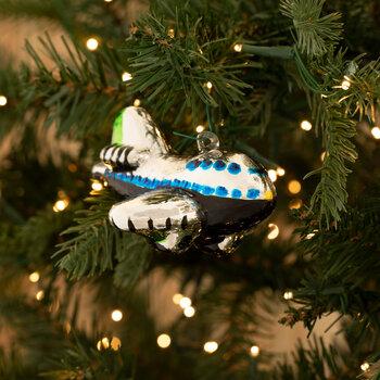 Black & Silver Airplane Ornament