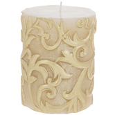 Ivory & Gold Scroll Pillar Candle