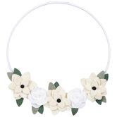 Cream & White Felt Floral Hoop Wall Decor