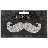 Silver Mustache Rhinestone Iron-On Applique