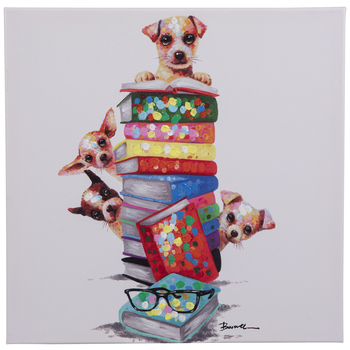 Dogs & Stacked Books Canvas Wall Decor