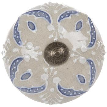 Blue & White Embossed Floral Knob
