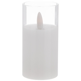 White Pillar Glass LED Candle