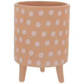 Peach & White Polka Dot Flower Pot