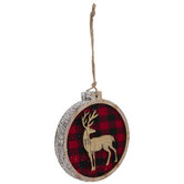 Deer Round Buffalo Check Ornament
