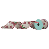 """Strawberry & Blooms Burlap Wired Edge Ribbon - 2 1/2"""""""