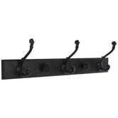 Distressed Black Wood Wall Decor With Hooks
