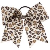 Leopard Print Grosgrain Bow Hair Tie