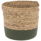 Natural & Green Round Woven Basket