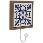 Blue Fleur De Lis Wood Wall Hook