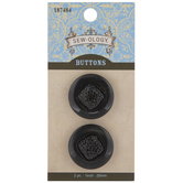 Black Rhinestone Round Buttons - 25mm