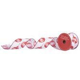 "White & Red Glitter Ornament Wired Edge Ribbon - 2 1/2"""