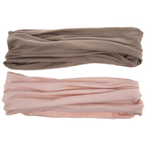Tan & Pink Wide Elastic Headbands