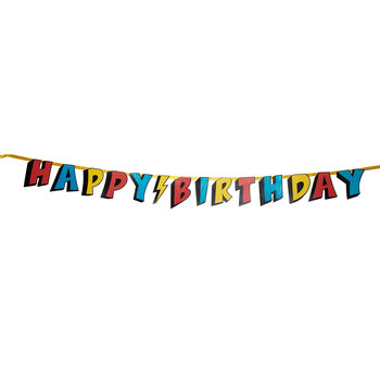 Superhero Happy Birthday Banner