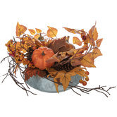 Gourds, Berries & Leaves In Galvanized Metal Pot