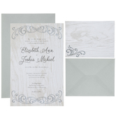 Gray Flourish Wedding Invitations