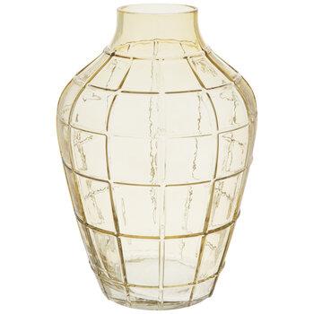 Yellow Grid Glass Vase