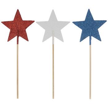 Red, White & Blue Glitter Star Picks