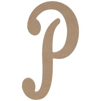 "Uppercase Script Wood Letter P - 6"""