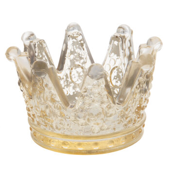 Crown Mercury Glass Candle Holder