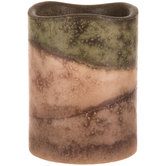 Green & Brown Layered LED Pillar Candle