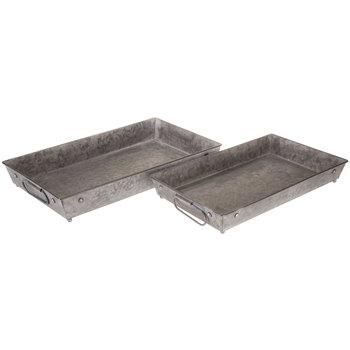 Dark Gray Galvanized Metal Tray Set