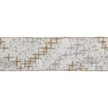 "Gold & Silver Stars Single-Face Wired Edge Satin Ribbon - 2 1/2"""