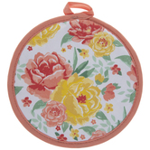 Yellow & Peach Roses Pot Holder