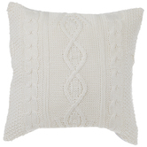 White Trellis Knit Pillow Cover