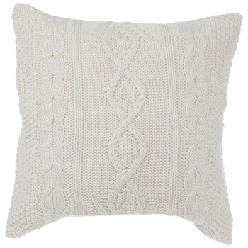 White Trellis Knit Pillow Cover