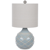 Light Blue Rope Pattern Ball Lamp