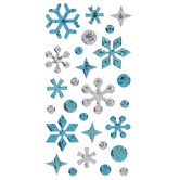 Blue & Silver Glitter Snowflake 3D Stickers