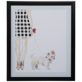 Preppy Girl & Dog Framed Wall Decor