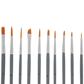 Assorted Taklon Paint Brushes - 10 Piece Set