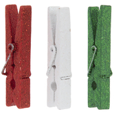 Red, Green & White Glitter Gift Tag Clips