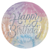 Happy Birthday Tie Dye Paper Plates - Large
