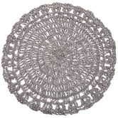 Gray Round Crocheted Placemat