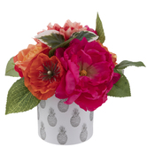 Pink & Orange Rose Arrangement In Pineapple Pot