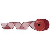 "Red Glitter Mesh Wired Edge Ribbon - 2 1/2"""
