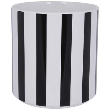 Black & White Striped Flower Pot