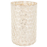 White & Silver Honeycomb Hurricane Candle Holder