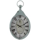 Distressed Blue Oval Metal Wall Clock