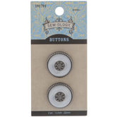 White Vintage Shank Buttons - 22mm