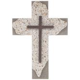 Layered Terrazzo Wall Cross