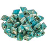 Turquoise Picasso Gemduo Czech Glass Beads - 8mm x 5mm